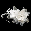 Elegance by Carbonneau HP-9714-S-Ivory Silver Ivory Fabric Flower with Swarovski Crystal & Rhinestone Side Accented Matte Satin Fabric Flower & Mesh Petal Headband Headpiece 9714