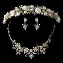 Elegance by Carbonneau HP-9842-NE-7305-G-Champ Gold Champagne Pearl, Swarovski Crystal Bead and Rhinestone Ceramic Flower Tiara Headpiece 9842 & Jewelry Set 7305