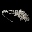 Elegance by Carbonneau HP-9853 Charming Silver Side Accented Flower Headpiece w/ Clear Rhinestones & Austrian Crystals 9853