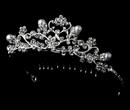 Elegance by Carbonneau HPC-760 Fancy Pearl & Rhinestone Flower Girl Tiara Comb HPC 760