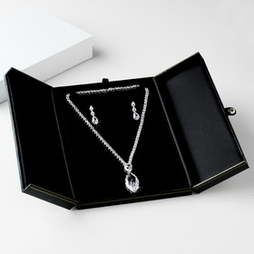 Elegance by Carbonneau Jewelry-Box-8-Black Deluxe Black or Red Leatherette Necklace & Earring Jewelry Box # 8