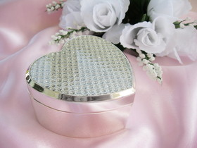 Elegance by Carbonneau Jewelrybox-83603 Crystal Glitter Clear Heart Jewelry Box 83603