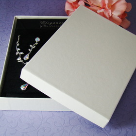 "Elegance by Carbonneau JewelryBox55x4 White or Black Jewelry Presentation Box 5 1/4"" long x 3 3/4"" wide Cotton Filled"