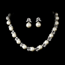 Elegance by Carbonneau N-2592-E-5152-AS-Ivory Necklace 2592 Earring 5152 Silver Ivory