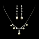 Elegance by Carbonneau N-2615-E-2536-Silver-Ivory Necklace Earring Set N 2615 E 2536 Silver Ivory