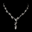 Elegance by Carbonneau N-2621-Silver-Clear Stunning Silver Clear Crystal Floral CZ Necklace N 2621