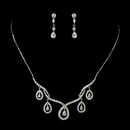 Elegance by Carbonneau N-2647-E-2656-AS-Clear Antique Silver Clear CZ Crystal Necklace 2647 & Earring 2656 Bridal Jewelry Set
