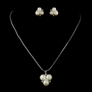 Elegance by Carbonneau N-6501-E-6510-AS-DW Antique Silver Diamond White Freshwater Pearl Pendant Necklace & Earrings 6501 Bridal Jewelry Set