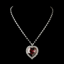 Elegance by Carbonneau N-71245-S-Red Silver Red Crystal Heart Necklace 71245