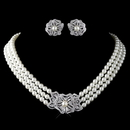 Elegance by Carbonneau N-76010-E-76012-RD-IV Rhodium Ivory Pearl & Rhinestone Necklace 76010 & Earrings 76012 Vintage Floral Jewelry Set
