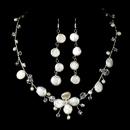 Elegance by Carbonneau NE-8137-SilverPearl Freshwater Pearl Necklace & Earring Set NE 8137
