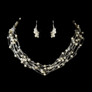 Elegance by Carbonneau N-8249-E-8249-S-Ivory Silver Ivory Pearl & Swarovski Crystal Necklace & Earrings Bridal Jewelry Set 8249