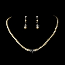 Elegance by Carbonneau N-8368-E-8370-Silver-Ivory Necklace Earring Set N 8368 E 8370 Silver Ivory