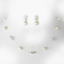 Elegance by Carbonneau N-8370-E-216-Silver-Ivory Necklace Earring Set N 8370 E 216 Silver Ivory