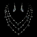 Elegance by Carbonneau N-8378-E-8382-Silver-Clear Necklace Earring Set N 8378 E 8382 Silver Clear