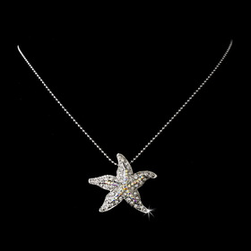 Elegance by Carbonneau N-8502-Silver-AB Aurora Borealis Encrusted Starfish Necklace Pendant in Silver Plating 8502