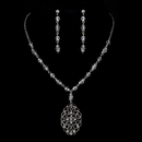 Elegance by Carbonneau N-8738-E-8738-S-Clear Silver Clear Austrian Crystal & Rhinestone Necklace & Earrings 8738