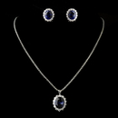Elegance by Carbonneau N-8753-PE-5014-E-5015-S-Sapphire Silver Rollo Chain 8753 with Sapphire Pendant 5014 & Earrings 5015