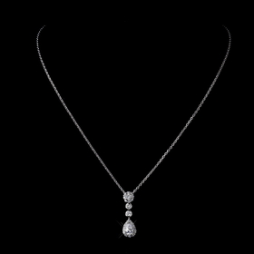 Elegance by Carbonneau N-8759-S-Clear Silver CZ Crystal Chain Link Bridal Necklace 8759