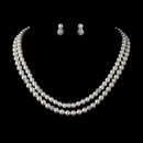 Elegance by Carbonneau N-8760-E-8761-S-DW Silver Ivory Pearl Necklace 8760 & Earrings 8761 Bridal Jewelry Set