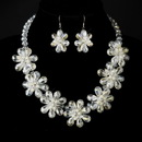 Elegance by Carbonneau N-8776-E-8776-S-Ivory Silver Ivory Pearl & Austrian Crystal Floral Necklace 8776 & Earrings 8776 Bridal Jewelry Set