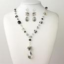 Elegance by Carbonneau N-9507-E-9507-S-Smoke Silver Smoke Black Diamond Faceted Glass Fashion Jewelry Set 9507