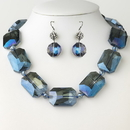 Elegance by Carbonneau N-9509-E-9529-H-Blue Hematite Blue Chunky Faceted Glass Crystal Necklace 9509 & Earrings 9529 Jewelry Set