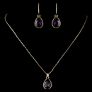 Elegance by Carbonneau N-9602-E-9601-G-Amethyst Gold Amethyst Teardrop CZ Crystal Necklace 9602 & Earrings 9601 Jewelry Set