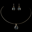 Elegance by Carbonneau N-9604-E-9602-G-Navy Gold Navy Teardrop CZ Crystal Necklace 9604 & Earrings 9602 Jewelry Set