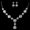 Elegance by Carbonneau N-9620-E-9732-RD-CL Rhodium Clear CZ Round Crystal Necklace 9620 & Earrings 9732 Jewelry Set