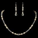Elegance by Carbonneau N-9717-E-9717-S-IV Silver Ivory Pearl, Rhinestone & Rondelle Jewelry Set 9717