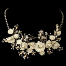 Elegance by Carbonneau N-9901-G-Rum Gold Rum Freshwater Pearl, Swarovski Crystal, Rhinestone, Bead, Porcelain Rose Necklace 9901