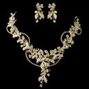 Elegance by Carbonneau N-9906-E-9906-G-IV Gold Ivory Seed Pearl, Swarovski Crystal & Rhinestone Floral Jewelry Set 9306