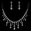 Elegance by Carbonneau N3628-E3628-Silver-Clear Glamourous Crystal Wedding Jewelry Set NE 3628