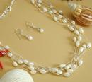 Elegance by Carbonneau N8250-E8254 Multi Strand Freshwater Pearl, Swarovski Crystal Necklace & Earring Set (N 8250 & E 8254)
