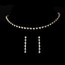 Elegance by Carbonneau NE-10022-goldclear Gold Single Row Crystal Choker Jewelry Set NE 10022