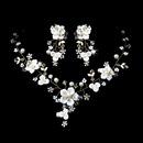 Elegance by Carbonneau NE-1014-G Beautiful Gold, Crystal, Porcelain & Pearl Bridal Jewelry Set NE 1014