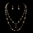 Elegance by Carbonneau NE-1040-G-Lt-Tan Gold Tan Tone Pearl and Crystal Cascade Necklace & Earrings Bridal Jewelry Set 1040