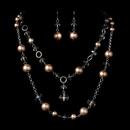 Elegance by Carbonneau NE-1040-Silver-Tan Necklace Earring Set 1040 Silver Tan