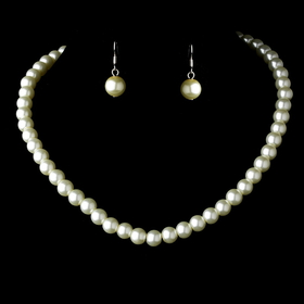 Elegance by Carbonneau NE-10912-Silver-Ivory Necklace Earring Set 10912 Silver Ivory