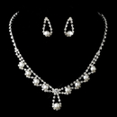Elegance by Carbonneau NE-12224-Silver-White Silver White Necklace Earring Set 12224