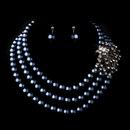 Elegance by Carbonneau NE-12508-Silver-Hematite Silver Hematite Necklace Earring Set 12508