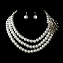 Elegance by Carbonneau NE-12508-Silver-White Silver White Necklace Earring Set 12508