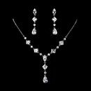 Elegance by Carbonneau NE-1276-Silver-Clear Silver Clear Cubic Zirconia Necklace Earring Set 1276
