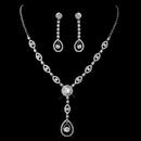 Elegance by Carbonneau NE-1295-Silver Silver Clear CZ Necklace & Earring Set 1295