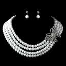 Elegance by Carbonneau NE-13330-AS-White Antique Silver White Pearl & Rhinestone Butterfly Necklace & Earrings Jewelry Set 13330