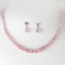 Elegance by Carbonneau NE-231-pink Pink Crystal Bridal Jewelry Set NE 231