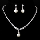 Elegance by Carbonneau NE-3068-Silver-White Silver White Pearl Necklace and Earring Set 3068