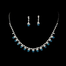 Elegance by Carbonneau NE-3108-Silver-Turquoise Necklace Earring Set NE 3108 Silver Turquoise
