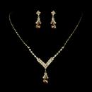 Elegance by Carbonneau NE-344-Gold-Light-Brown Gold Light Brown Necklace Earring Set 344